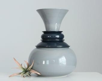 Large Ceramic Vase Grey Midnight Blue, Large Flared Pottery Vase Round