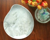 Large Serving Platter in Grey and White Marble