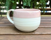 Large Porcelain Mug in Pink - Groove Ceramic Mug in Blush Pink