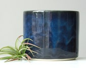Midnight Blue Ceramic Planter with Drainage