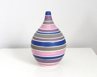 Porcelain Teardrop Vase Pink Grey Blue - Handmade Pottery Stripes