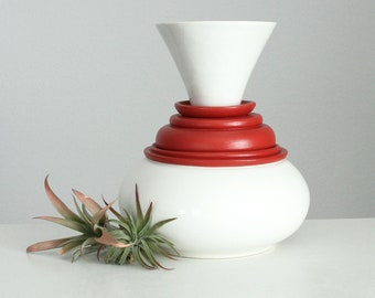 Modern Porcelain Vase White Red - Industrial Vessel No. 26 Architectural Pottery