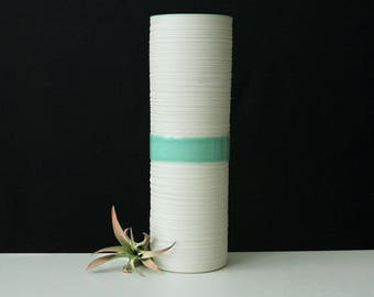Tall Ceramic Cylinder Vase Mint Green - Porcelain Groove Cylinder Vase in Mint Green