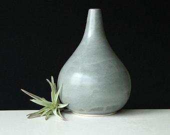 Teardrop Vase Grey - Porcelain Bud Vase Steel Grey