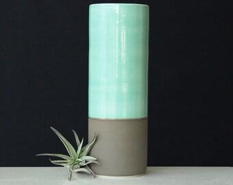 Porcelain Cylinder Vase Mint Green and Grey - Tall Ceramic Vase Grey Green