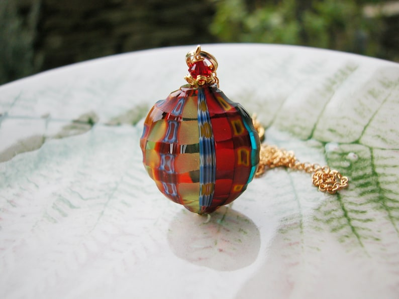 Venetian Murano Blown Millefiori Sculpted Necklace
