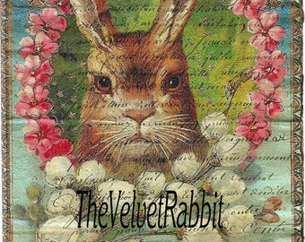 RABBIT in wreath*Quilt art fabric block*Optional sizes available*Free  shipping*Make totes, pillows, sachets,frame*This is adorable