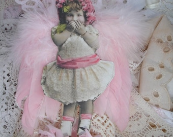 Uh Oh Flower Fairy Child*Pink Feathered wings*Spoolie*Oh so darling