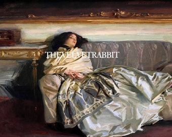 Fabric blocks, two 5x7 inch,John Singer Sargent, REPOSE,Gorgeous woman on sofa,WOW