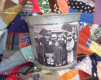 Halloween Old primitive vintage metal bucket*Altered art*Real photo of children in costumes*Whimsical witch