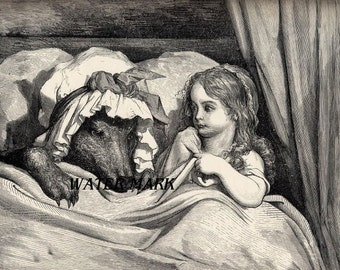 Red riding hood with wolf in bed*quilt art fabric block*Dore*Old world styling*