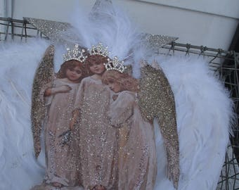 Angels three ornament  with real feathered wings,perfect for a feather or fir tree, as a gift,decorate a package*3.5 inches long*crowns*