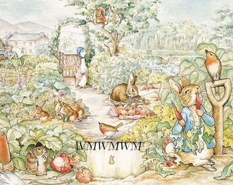 Beatrix Potter the garden*MULTI SIZES*Pillows*Sachets*Door dazzler*Fabric block ready to stitch*quilting