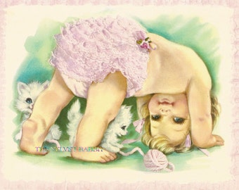 Baby with frilly pants and kitten*Quilt art fabric block*Optional sizes available*Free worldwide shipping