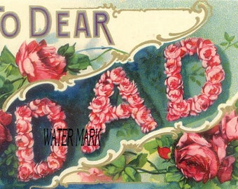 Dad*Father's Day*vintage style post card image*One greeting card*Great for your Father's Day