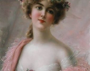 GIRL IN PINK SHAWL VINTAGE IMAGE RECREATED INTO A 1005 COTTON FABRIC BLOCK JUST STUNNING