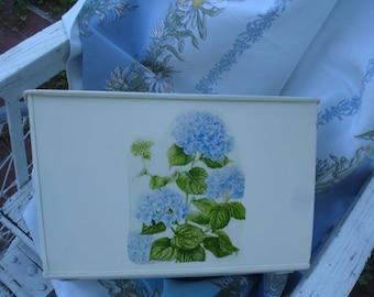 Metal storage bin*Cottage biscuit with blue Hydragena flowers*Gorgeous*Kitchen*Bedroom*Bath