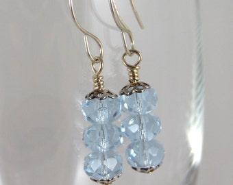 Blue Crystal Triple Drop Earrings