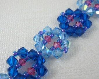 Shades of Blue Sparkle Crystal Bracelet - Adjustable size