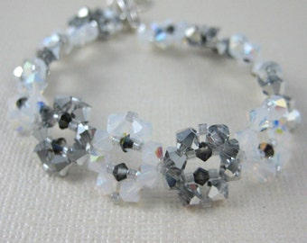 """Silver and White """"Snowflake"""" Crystal Bracelet - Adjustable size"""