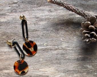 Leopard Post Dangles, Statement Charm Earrings, Light-Weight Post Dangle Earrings, 70s Style Leopard Print Earrings, Chain Link Dangles