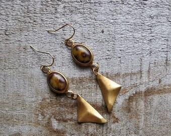 Leopard Print Dangles, Mini Brass Earrings, Triangle Earrings, Animal Print Dangle Earrings, Brass Triangle Earrings, 1970s Leopard Dangles