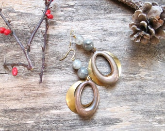 Hoop Earrings, Double Hoop Dangle Earrings, Brass Hoop Earrings, Copper Hoop Dangles, Gray Bead Earrings, Statement Hoop Earrings, Big Hoops