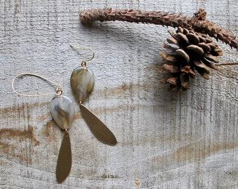 Grey Beaded Earrings, Gold Charm Earrings, Bead and Charm Dangle Earrings, Long Beaded Earrings, Chandelier Earrings, Long Gold Earrings