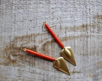 Geometric Earrings, Long Beaded Earrings, Geometric Dangles, Brass and Bead Earrings, Brass Charm Earrings, Vintage Bead Earrings, 1970s
