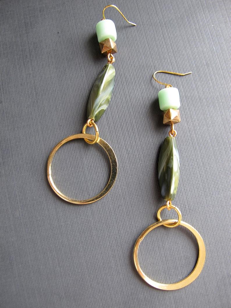 Dangle Hoop Earrings 1970s Style Boho Jewelry Limited  Edition Green Bead Dangles Hoops Statement Hoop Earrings Shiny Gold Hoops