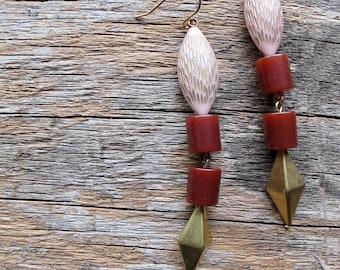 Beaded Drop Earrings, Brass Diamond Charm Earrings, Pink Earrings, Vintage Bead Earrings, 1970s Boho Earrings, Trendy Modern Earrings, Long