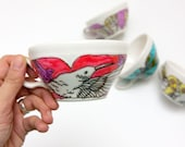 love in times of cholera tea cup -Red humming birds