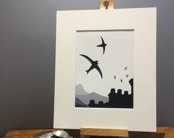 Common Swift 'Skychasers' fine art print, limited edition mounted print