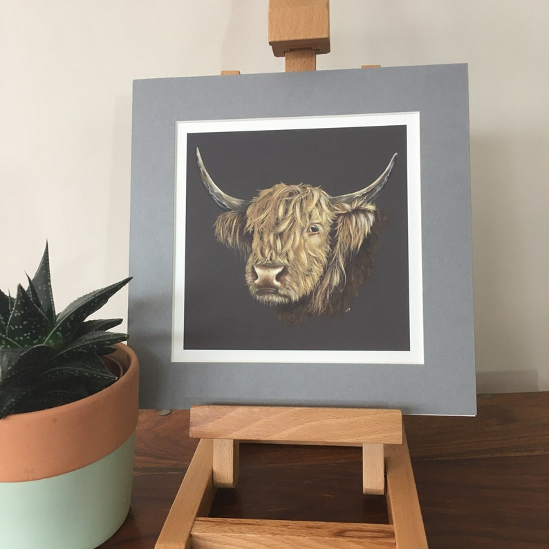 Highland Cow mounted fine art print. image 0