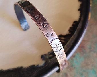 Sweetest Moon / Copper Cuff Bracelet