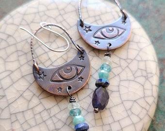 Tears Of Joy / Copper and Gemstone Earrings