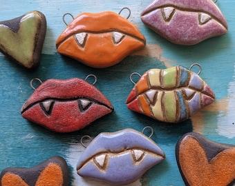 Vampire Kiss / Ceramic Pendant Made To Order