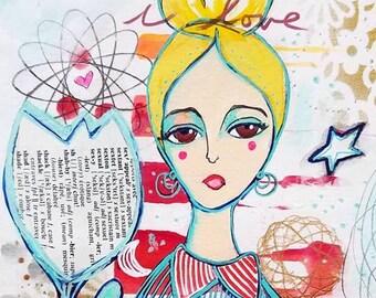Déesse de l'amour de Star / acrylique et techniques mixtes