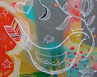 Reine oiseau / acrylique et techniques mixtes