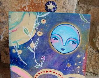 Pleine lune et étoile / Mixed médias peinture
