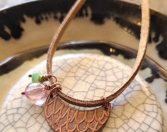 Garden Dream / Quartz and Etched Copper Necklace