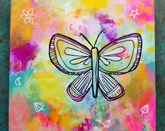 Butterfly Migration #2 / Mixed Media Painting