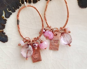 Butterfly Garden/ Stamped Copper and Gemstone Earrings