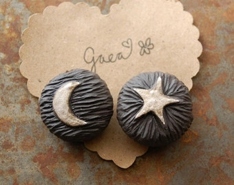 Pre-Order / Moon an Star / Midnight Tone Ceramic Moon and Star Focal Bead
