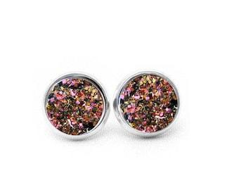 Rose Gold Druzy Earrings, Gift for Her, Gift for Women, Stocking Stuffer for Wife, Druzy Stud Earrings, Boho Jewelry, Boho Earrings,
