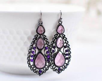 Long Purple Earrings, Gift for Her, Christmas Gift for Wife, Chandelier Earrings, Birthday Gift for Women, Gift for Mom, Statement Earrings