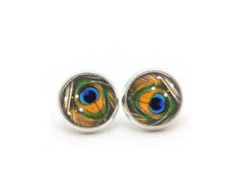 Peacock Stud Earrings, Peacock Post Earrings, Gift for Her, Gift for Women, Christmas Gift for Wife, Cabochon Earrings, Dangle Earrings