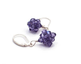 Swarovski Crystal Earrings, Gift for Her, Gift for Women, Purple Beaded Earrings, Bridal Earrings, Wedding Earrings, Dangle Drop Earrings
