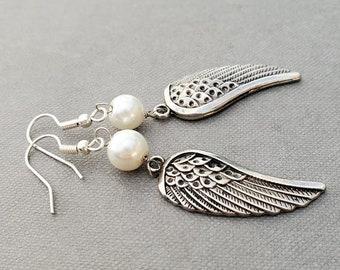 Silver Angel Wing Earrings, Pearl Earrings, Angel Wing Charms, Whimsical Jewelry, Cute Earrings, Long Dangle Earrings, Gift for Teenage Girl