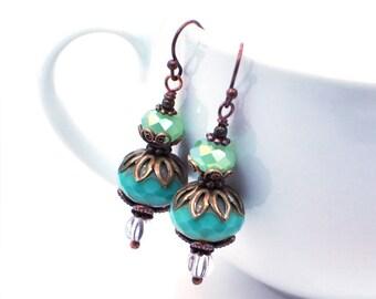 Teal Blue Earrings, Copper Earrings, Dangle Earrings, Boho Earrings, Bohemian Handmade Earrings, Blue Beaded Earrings, Drop Earrings